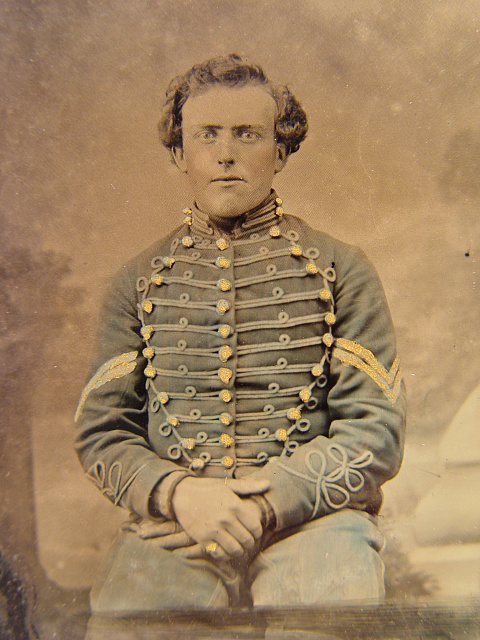 [Unidentified soldier in 3rd New Jersey Cavalry Volunteers (The Butterflies) jacket with corporal's chevrons]