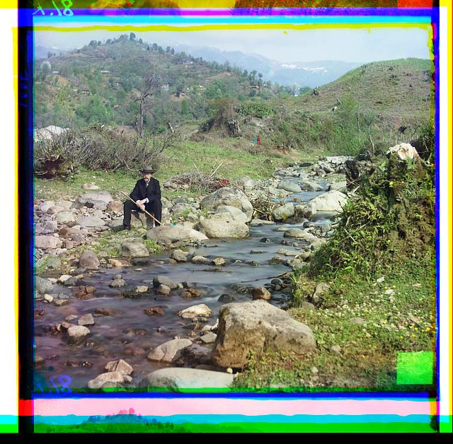 Photographer Prokudin-Gorskii on the Karolitskhali River, Georgia. Color-composite photo from digitized glass negative by Sergei M. Prokudin-Gorskii, 1905-1915.