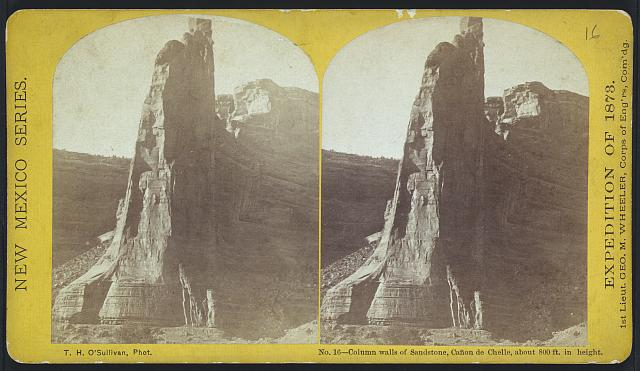 Column walls of sandstone, Cañon de Chelle, about 800 ft. in height.