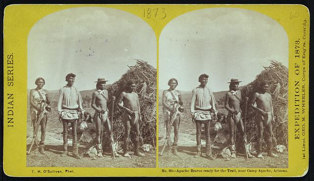 Apache braves ready for the trail, near Camp Apache, Arizona.