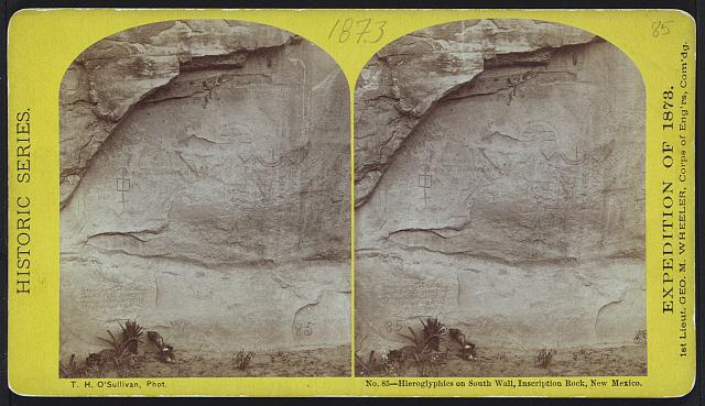 Hieroglyphics on south wall, Inscription Rock, New Mexico.