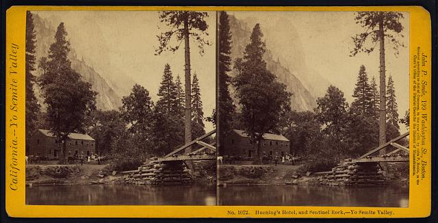 Huching's [Hutchings'] Hotel, and Sentinel Rock, Yo Semite Valley