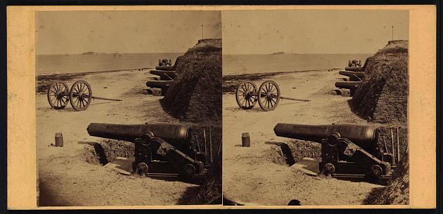 Fort Johnson. Fort Sumter in the distance. James Island, March, 1865