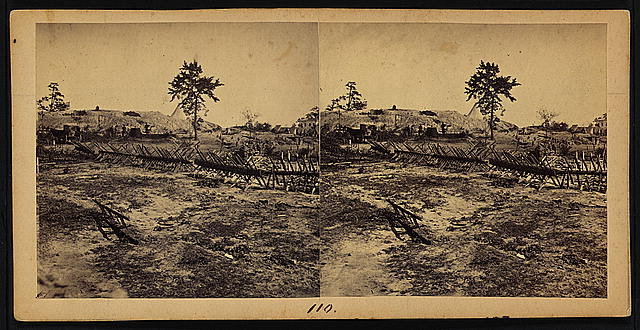 View of large rebel fort east of W. & A. R.R. Potter's House in the right background, Atlanta, Ga., Nov. 1864