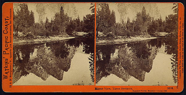 Mirror view, Three Brothers, Yosemite Valley, Mariposa County, Cal.
