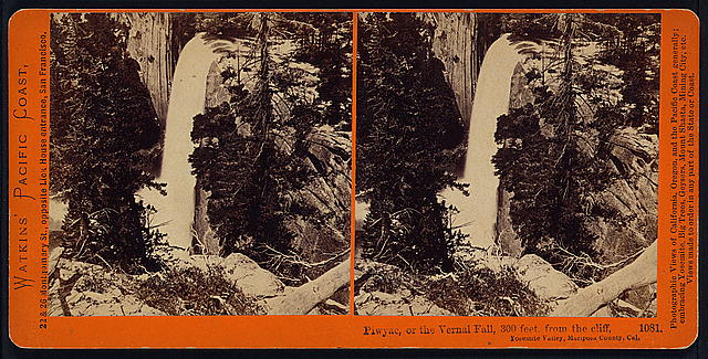 Piwyac, or the Vernal Fall, 300 feet, from the cliff, Yosemite Valley, Mariposa County, Cal.