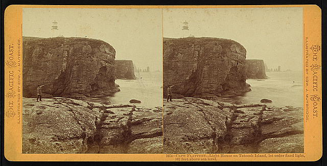 Cape Flattery - light house on Tatoosh Island, 1st order fixed light, 162 feet above sea level
