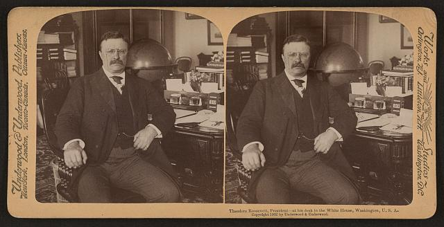 Theodore Roosevelt, President - at his desk in the White House, Washington, U.S.A.