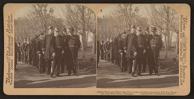 Admiral Dewey and officers of the Navy, in line at President Roosevelt's New Year reception, 1902, White House, Washington