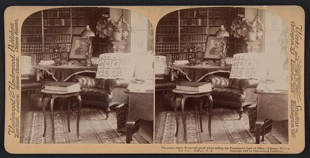 The place where Roosevelt stood while taking the President's oath of office - library, Wilcox residence, Buffalo, N.Y.