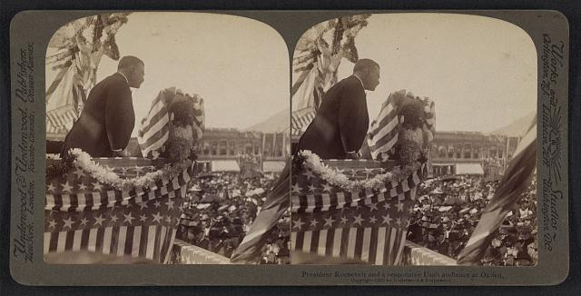 President  Roosevelt and a responsive Utah audience at Ogden
