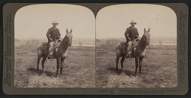 President Theodore Roosevelt mounted for a gallop near Laramie, Wyoming