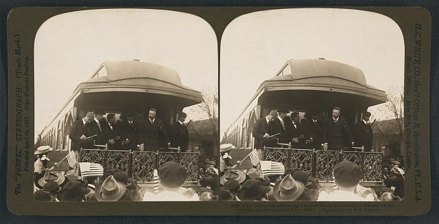 Pres. Roosevelt addressing a typical Western crowd from the rear of his private car, Presidential Tour, 1905