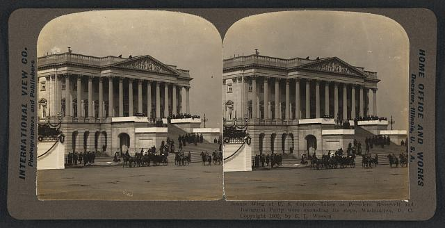 Senate wing of U.S. Capitol - taken as President Roosevelt and inaugural party were ascending its steps