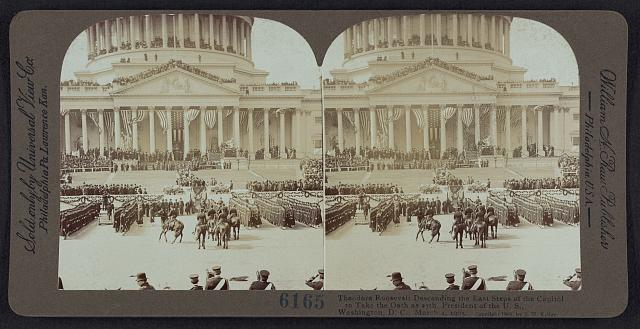 Theodore Roosevelt descending the east steps of the Capitol to take the oath as the 27th President of the U.S., Washington, D.C., March 4, 1905