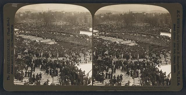 Great crowds of people around the inaugural stand, President Roosevelt delivering his address, Washington