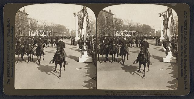 "The inauguration parade in the ""Court of History"" opposite the White House grounds, Washington"