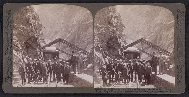 President Roosevelt and his traveling companions at the Hanging Bridge, Royal Gorge, Col.