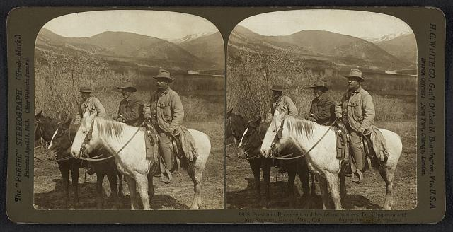 President Roosevelt and his fellow hunters, Dr. Chapman and Mr. Stewart, Rocky Mts., Col.