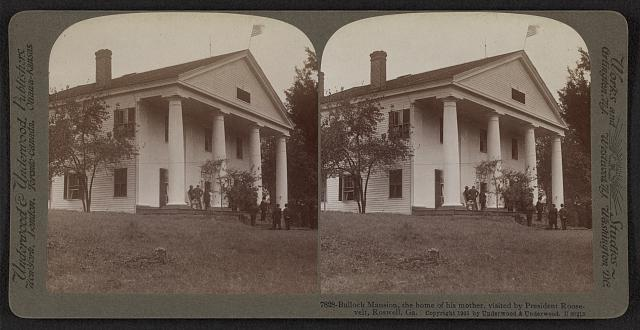 Bulloch mansion, the house of his mother, visited by President Roosevelt, Roswell, Ga.