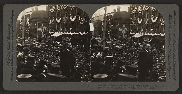 President Roosevelt delivering a stirring address to dedication of the Capitol, Harrisburg, Pa., Oct. 4, 1906