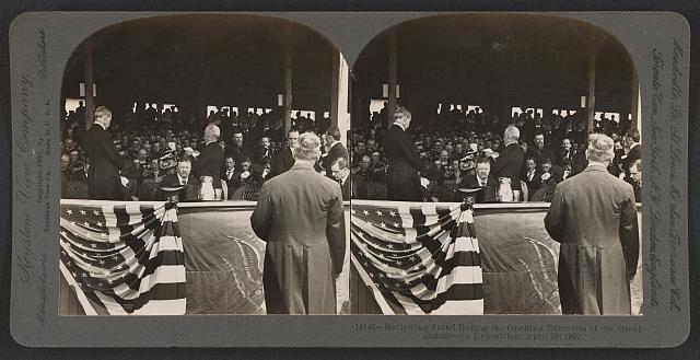 Reviewing stand during the opening exercises of the great Jamestown Exposition, April 26, 1907