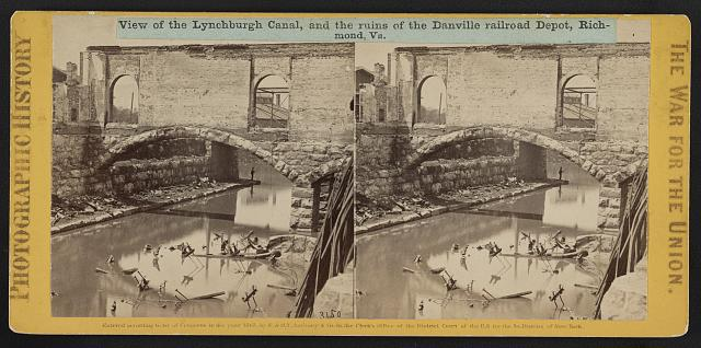 View of the Lynchburgh (i.e. Lynchburg) Canal, and the ruins of the Danville railroad depot, Richmond, Va.