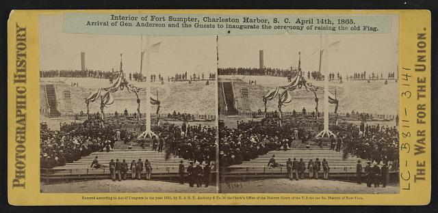 Interior of Fort Sumpter (i.e. Sumter), Charleston Harbor, S.C. April 14th, 1865. Arrival of Gen. Anderson and the guests to inaugurate the ceremony of raising the old flag