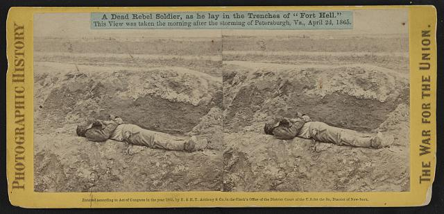 """A dead rebel soldier, as he lay in the trenches of """"Fort Hell"""""""