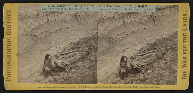 "C.S. soldier killed by a shell in the trenches of ""Fort Hell"" (i.e. ""Fort Damnation"")"