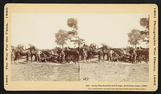 Army Blacksmith and Forge, Antietam, Sept., 1862