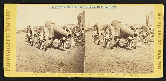 Captured seige guns, at Rocketts, Richmond, Va