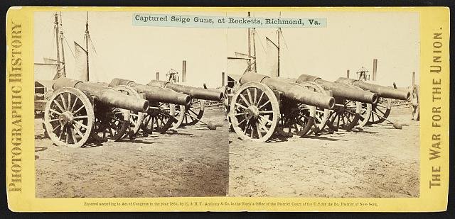 Captured siege guns, at Rocketts, Richmond, Va.