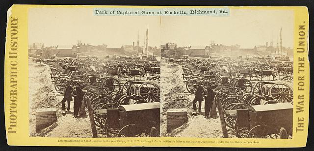 Park of captured guns at Rocketts, Richmond, Va.