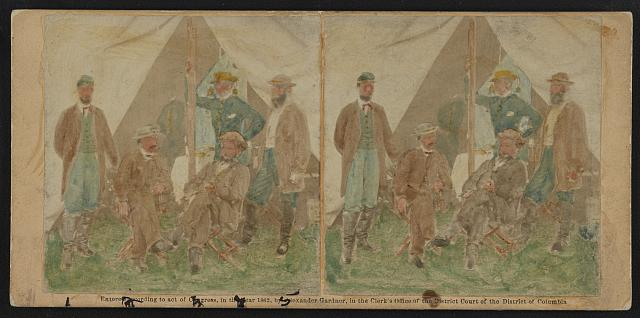 Taken on battlefield of Antietam Oct. 18 [...] 1.Geo. H. Bangs, 2. Wm. B. Moore, Private Secy of [...] 3. Allan Pinkerton, 4. John C. Babcock, 5. A. K. Littlefield