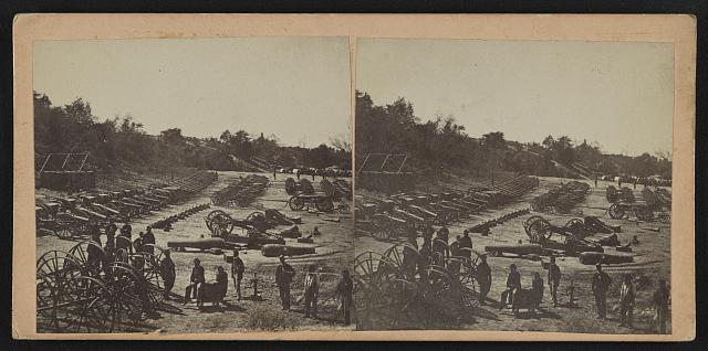 Ordnance Depot at Broadway Landing-Siege train awaiting shipment-U.S. guns on left, Confederate captured ordnance on right