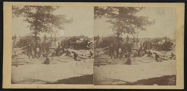 Part of Federal Line of Works showing bombproof tents occupied by U.S. Colored Troops in front of Petersburg, Va., Aug. 7, 1864