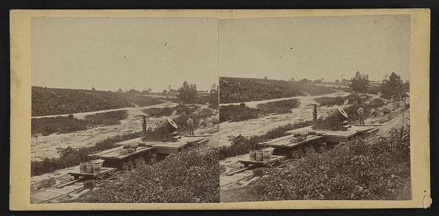 "15-inch (i.e. 13-inch) mortar, ""Dictator"" in the works in front of Petersburg, Va. View from the north, September 1, 1864"