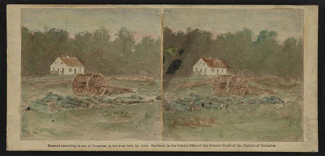 Dunkers (i.e. Dunker) Church, battle field of Antietam. After battle, how dead were laid out