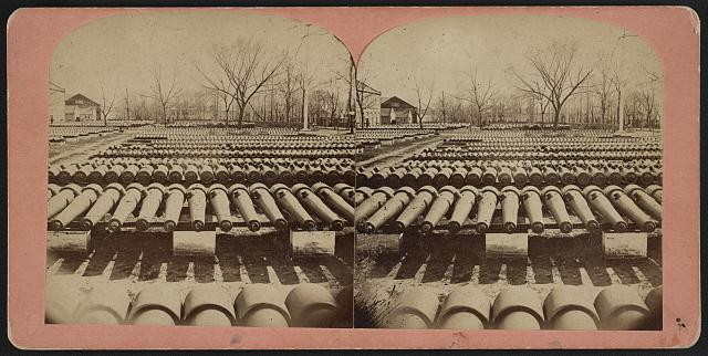 Arsenal grounds, Richmond, Va., showing ruins and shot and shell scattered around