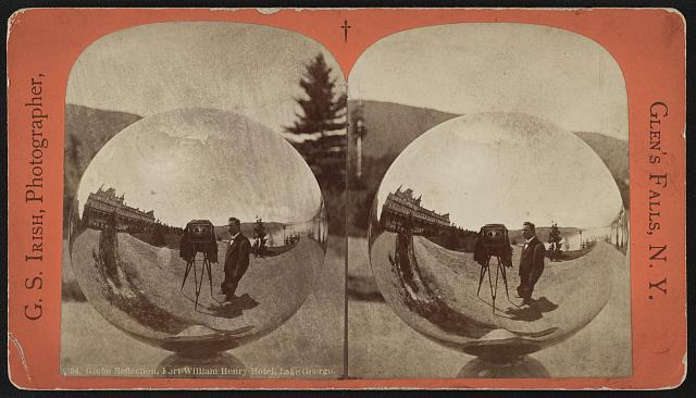 Globe reflection, Fort William Henry Hotel, Lake George