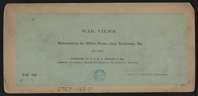Embarkation for White House, from Yorktown, Va.