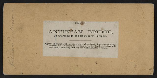 Antietam Bridge, on Sharpsburgh and Boonsboro Turnkpike