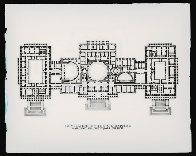U.S. Capitol. Architect's drawing of U.S. Capitol for extension on front