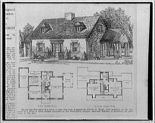 Miscellaneous houses illustration and floor plans of a for Cape cod floor plans 1950