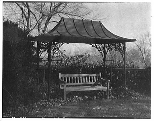 Dumbarton Oaks. Covered bench at Dumbarton Oaks