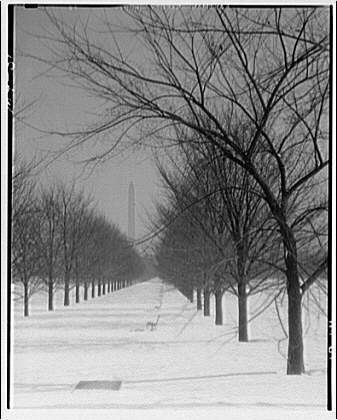Washington Monument. View of Washington Monument from Lincoln Memorial in winter