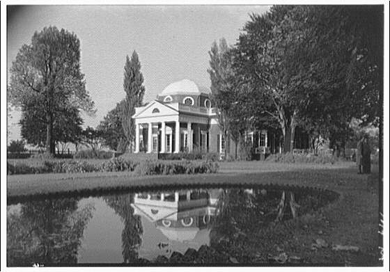 Monticello, Virginia. Front of Monticello from right with reflection in pool, horizontal I
