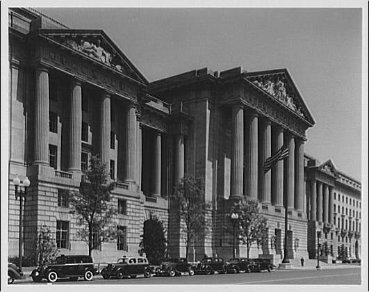 U.S. Customs Service, Departmental Auditorium, and the Interstate Commerce Commission Building. Portico and entrance of U.S. Customs Service, Departmental Auditorium, and the Interstate Commerce Commission Building on Constitution Ave. II