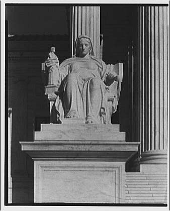 U.S. Supreme Court exteriors. Statue of Contemplation of Law at U.S. Supreme Court, front view III